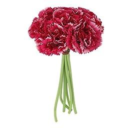Wedding Silk Carnation Flower Bunch Rose Red