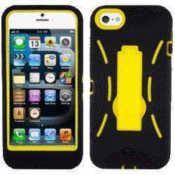 Eagle Cell Paiphone5Spstyebk Advanced Rugged Armor Hybrid Combo Case With Kickstand For Iphone 5 - Retail Packaging - Yellow/Black
