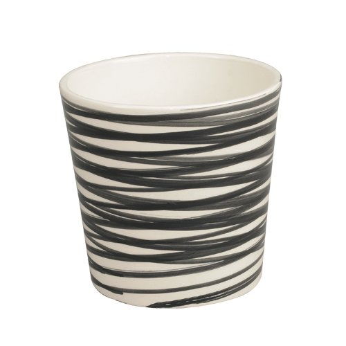 Herstera Garden - Art. Decorative cream plant pot with painted stripes (Black Stripes)