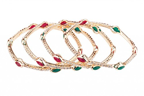 Vanya Hexagonal shape lovely bangles with red and green stone for Women (multicolor)
