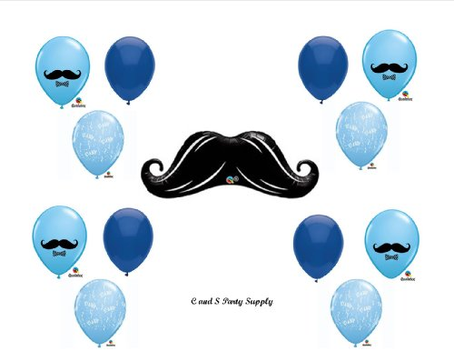 LITTLE MAN MUSTACHE BABY SHOWER Balloons Decorations Supplies....13 pieces!