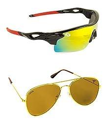 Abqa Original Hi Quality Cricket | Biking Goggles Combo Sports, Wrap-around, Cat-eye Sunglasses