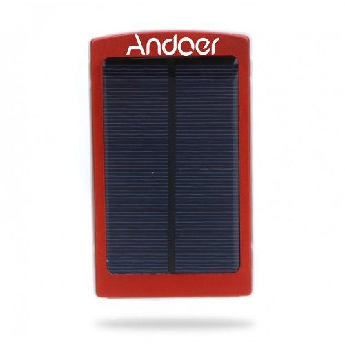 Andoer Externe Tragbare 10000mAh Solar Ladegerät Handy Powerbank Universal für iPhone iPad Samsung NokiaSmartphones (rot)