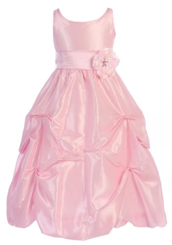 Wonder Girl Flower S-Band Big Girls' Taffeta Long Tea Length Dress 6 Pink