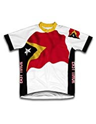 East Timor Flag Short Sleeve Cycling Jersey for Women