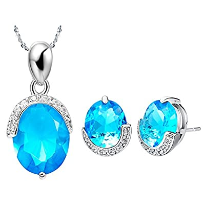 Layla Jewelry 18k White Gold Plated Alloy Swarovski Elements Crystal Jewelry Set include Pendant Necklace and Stud Earrings for Ladies Gift