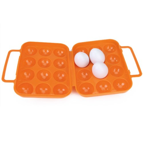 Portable Folding Plastic Egg Carrier Holder Storage Container for 12 Eggs - Orange