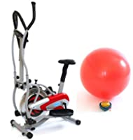 Gym Master 2 in 1 Elliptical Exercise Bike & Cross Trainer for Cardio Workout in Red with Gym Ball - 1 Year Warranty Review-image