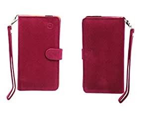 Jo Jo A9 Anya Leather Carry Case Cover Pouch Wallet Case For Fly Qik Exotic Pink