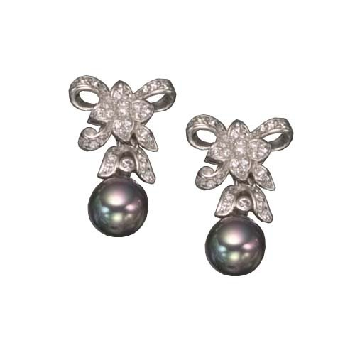 C.Z. AND GRAY PEARL RHODIUM PLATED (.925) STERLING SILVER EARRINGS (Nice Holiday Gift, Special Black Firday Sale)