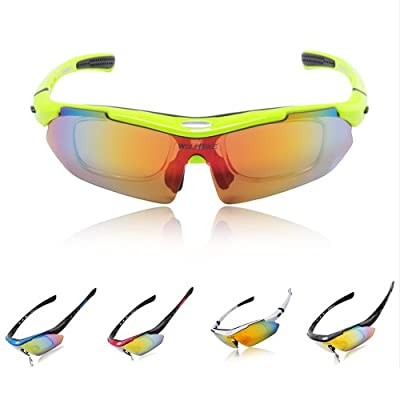 WOLFBIKE Polarized Cycling Sun Glasses Outdoor Sports Bicycle Glasses Bike Sunglasses Running Driving Racing Ski Goggles Eyewear Exchangeable 5 Lens