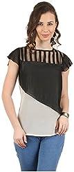 MANKA Women's Half Sleeve Top (MK-568_L, Off-White, Large)