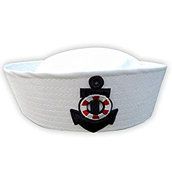 Vktech® New White Sailor Navy Hat Cap with Anchor for Fancy Dress