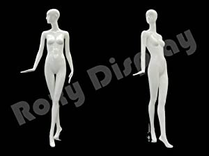 (MD-XD09W) ROXYDISPLAYTM Glossy White Fiberglass Abstract Female Mannequin, head turns to the right, with walking pose. (Color: MD-XD09W)