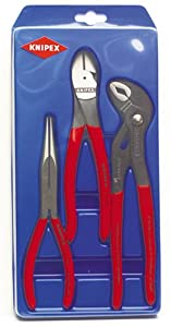 Knipex 267487 3 Piece 8-Inch Long Nose Plier, 8-Inch Diagonal Cut Plier and 10-Inch Cobra Plier Set at Sears.com