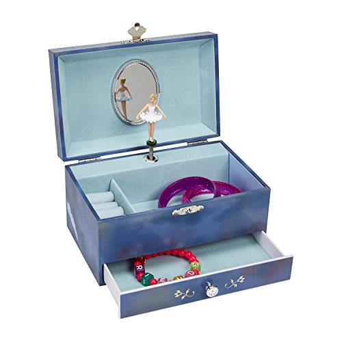 JewelKeeper Swan Lake Musical Jewelry Box with Pullout Drawer, Blue Girl's Jewel Storage Case, Swan Lake Tune (Vintage Ballerina Jewelry Box compare prices)