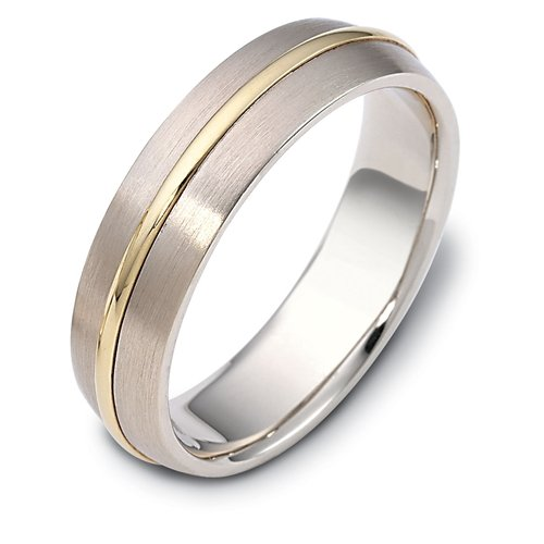 10K Two-Tone Gold, Classic Modern 6MM Wedding Band (sz 6.5)