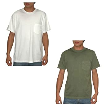 (Pack of 2) Eddie Bauer Mens Short Sleeve T Shirt Large White & Army Green