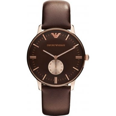 Emporio Armani Gents Gold Tone Stainless Steel Watch with Leather Strap