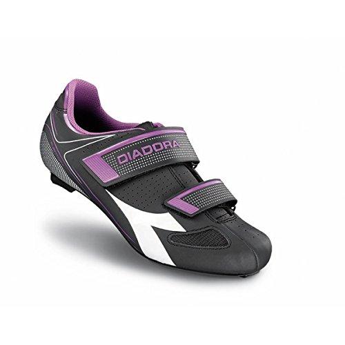 Diadora Women's Phantom II Road Cycling Shoe - 170223-C6040 (Dk Smoke/White/Violet Orchid - 40)