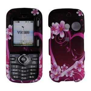 Lg Cosmos Vn250/Rumor 2 Ux265 Cell Phone Pink Heart Design Protective Case Faceplate Cover