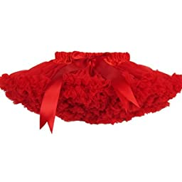 Buenos Ninos Girl's Solid Color Dance Tutu Pettiskirt Red 3-4T