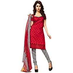 Kavyanjali Women's Red Unstitched Cotton Dress Material