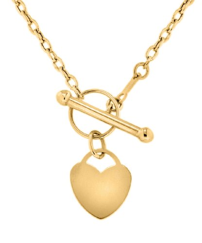 9ct Yellow Gold Heart Tag T-Bar Chain Necklace 40cm/16