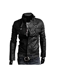 Wantdo Men's Fashion Faux Jackets Pu Leather Jackets With Removable Hood With Gift Zeagoo Fashion Men s Slim Top