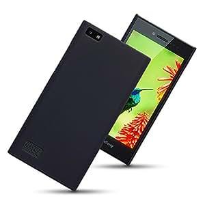 Plus Rubberised Matte Hard Back Case Cover For BlackBerry Leap - Black