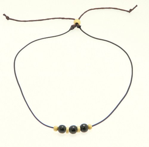 Neptune Giftware Surf Surfer Black & Brown Cord Necklace With Coco Wood Beads