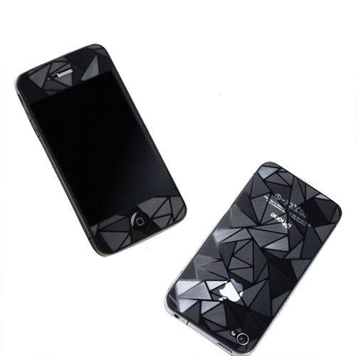 3D Diamond Pattern Matte Anti Finger Anti Glare Screen Protector Guard Film for iPhone 4 4S (Front and Back) (Iphone 4 Front And Backs compare prices)