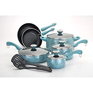 Paula Deen Porcelain Nonstick 12 Piece Cookware Set in Blue 19809