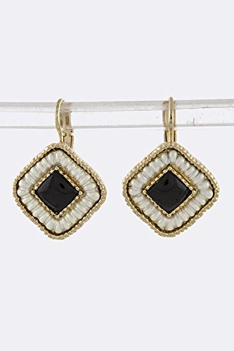 Karmas Canvas Etched Square Earrings (Black/White)