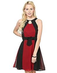 Besiva Sleeveless Bow Black & Maroon Dress