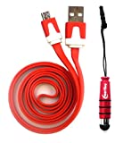 Emartbuy® Duo Pack For Star N9770 - Red Metallic Mini Stylus + Red Flat Anti-Tangle Micro USB Sync / Transfer Data & Charger Cable