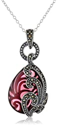 Sterling Silver Oxidized Marcasite and Garnet Colored Glass Textured Teardrop Pendant Necklace, 18""