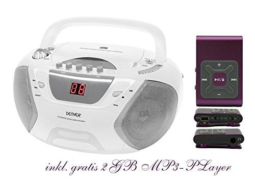 Kinder Mädchen Stereoanlage CD-Player Radio Kassettendeck Boombox DENVER TCP-38 Weiß inkl. 2GB MP3-Player Lila