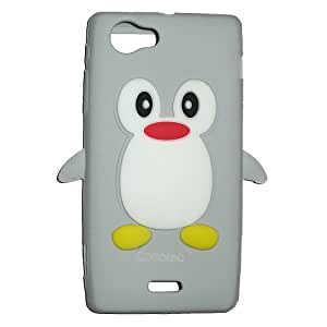 Casotec Penguin Silicone Jelly Back Case Cover for Sony Xperia J ST26i - Grey