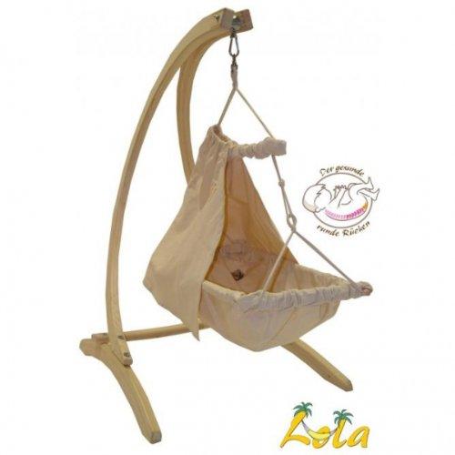 Lola Baby Hängematten Set-Holzgestell Baby Carello mit Nido Bambini und Vorhang