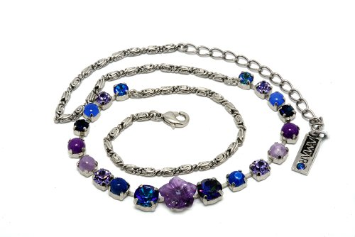 Amaro Jewelry Studio 'Rainy Skies' Collection Rhodium Plated Collar Necklace with Flower Elements, Amethyst, Sodalite, Lapis Lazuli, Lavender, Blue Agate, Purple Jade, Blue Abalone, Blue Cat's Eye and Swarovski Crystals