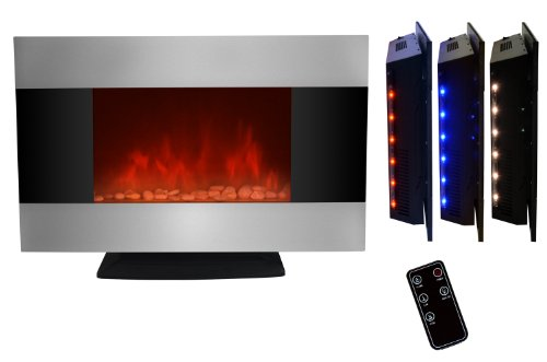 AKDY 36 inch Wall Mount Stainless Panel Electric Fireplace Space Heater With Pebbles/Remote And Floorstand AX510S-DPB picture B00GXMHFY8.jpg