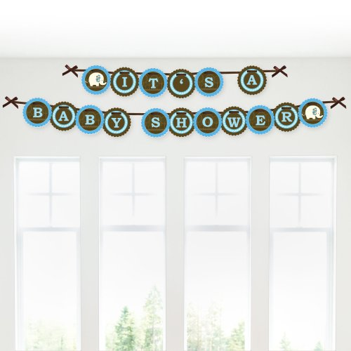 Blue Elephant - Baby Shower Garland Banners front-149551