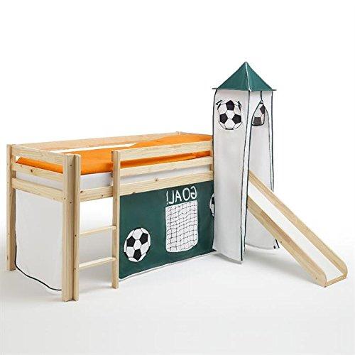 Rutschbett Hochbett Kinderbett Spielbett MAX, mit Rutsche, Vorhang und Turm im Fußballmotiv, Kiefer massiv natur lackiert, 90 x 200 cm günstig kaufen