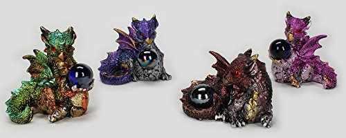 "Dragon Mini Figurines Statues with Marble 4 Piece Set Each 2 1/4"" Tall"