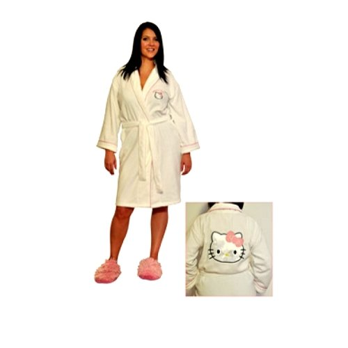 Hello Kitty White Adult With Pink Border Bathrobe