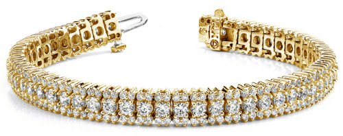 18k Yellow Gold, Flashy Prong Set Diamond Bracelet, 5.85 ct. (Color: GH, Clarity: VS)