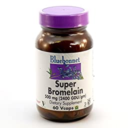 Bundle - 2 Items: 1 Bottle of Super Bromelain By Bluebonnet - 60 Vegetarian Capsules and 1 VDC Pill Box