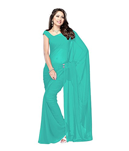 Lovely Look Latest collection of Plain Sarees in Georgette Fabric & in attractive Rama Color
