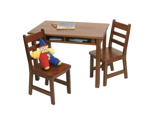 Lipper International 534C Child's Rectangular Table and 2-Chair Set, Cherry